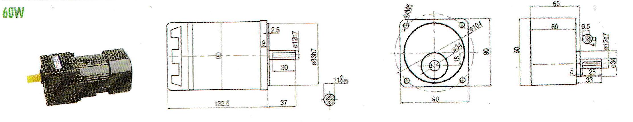 Cấu tạo motor giảm tốc mini 60W